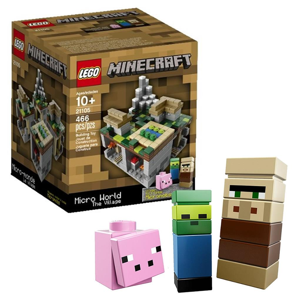 LEGO Minecraft Micro World: The Village 21105 Villager Pig Zombie Micromob Biome Build Top 6068014