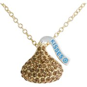 Hershey's Kiss Gold Tone Brown Crystal Pendant, 18""