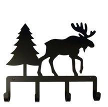 KH-22 Moose & Pine Silhouette Black Metal Key Holder
