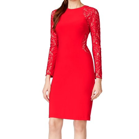INC NEW Chinese Red Floral Lace Inset Womens Size 10 Sheath Dress