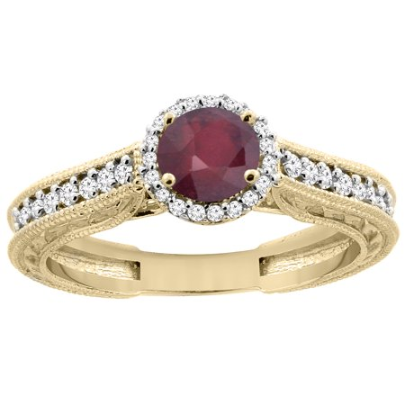 14K Yellow Gold Natural Enhanced Ruby Round 5mm Engraved Engagement Ring Diamond Accents, size 7