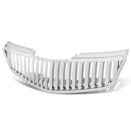 For 2006 to 2011 Cadillac DTS ABS Plastic Glossy Badgeless Vertical Fence Style Front Bumper Grille (Chrome) 10 11