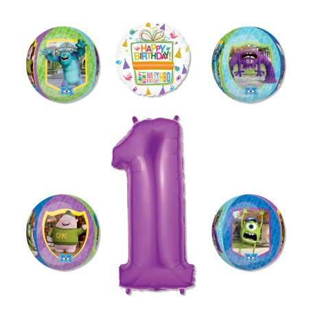 Monsters University Party Supplies 1st Birthday Balloon Bouquet Decorations - Purple Number 1 1st Year Birthday