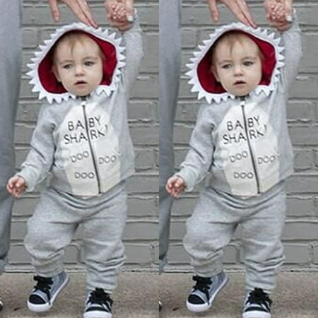 2Pcs Toddler Kids Baby Boy Shark Clothes Hooded Tops Pants Spring Outfits Set - Shark Hunter Outfit
