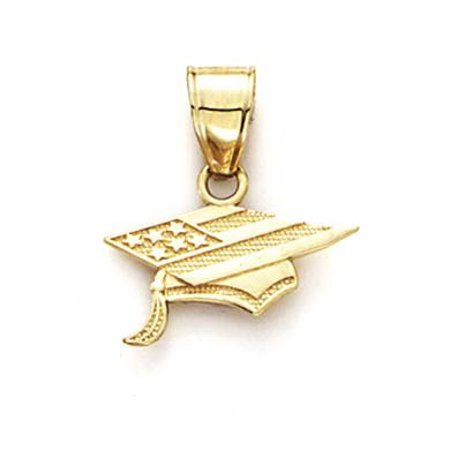 14k Yellow Gold Flag Graduation Cap Pendant - .6 Grams 14k Gold Graduation Pendant