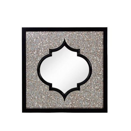 Majestic Mirror Moroccan Square Black Beveled Glass Decorative Wall - Majestic Printed Mirror