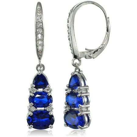 Blue Diamond Dangle Earrings - Created Blue Sapphire and White Topaz Sterling Silver 3-Stone Dangle Leverback Earrings