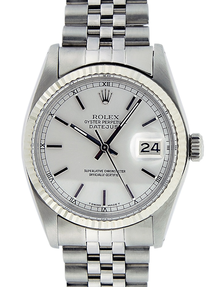 Pre-Owned Rolex Mens Datejust Steel & White Gold Silver Index Watch 16014 Jubilee