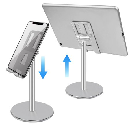 Cell Phone Stand, EBook Reader, Height/Angle Adjustable Smartphone Tablet Desktop Holder, Aluminum Stand Mount Dock Compatible With IPhone Samsung Cell Phone, Tablet, IPad, Kindle Aluminum Top Case