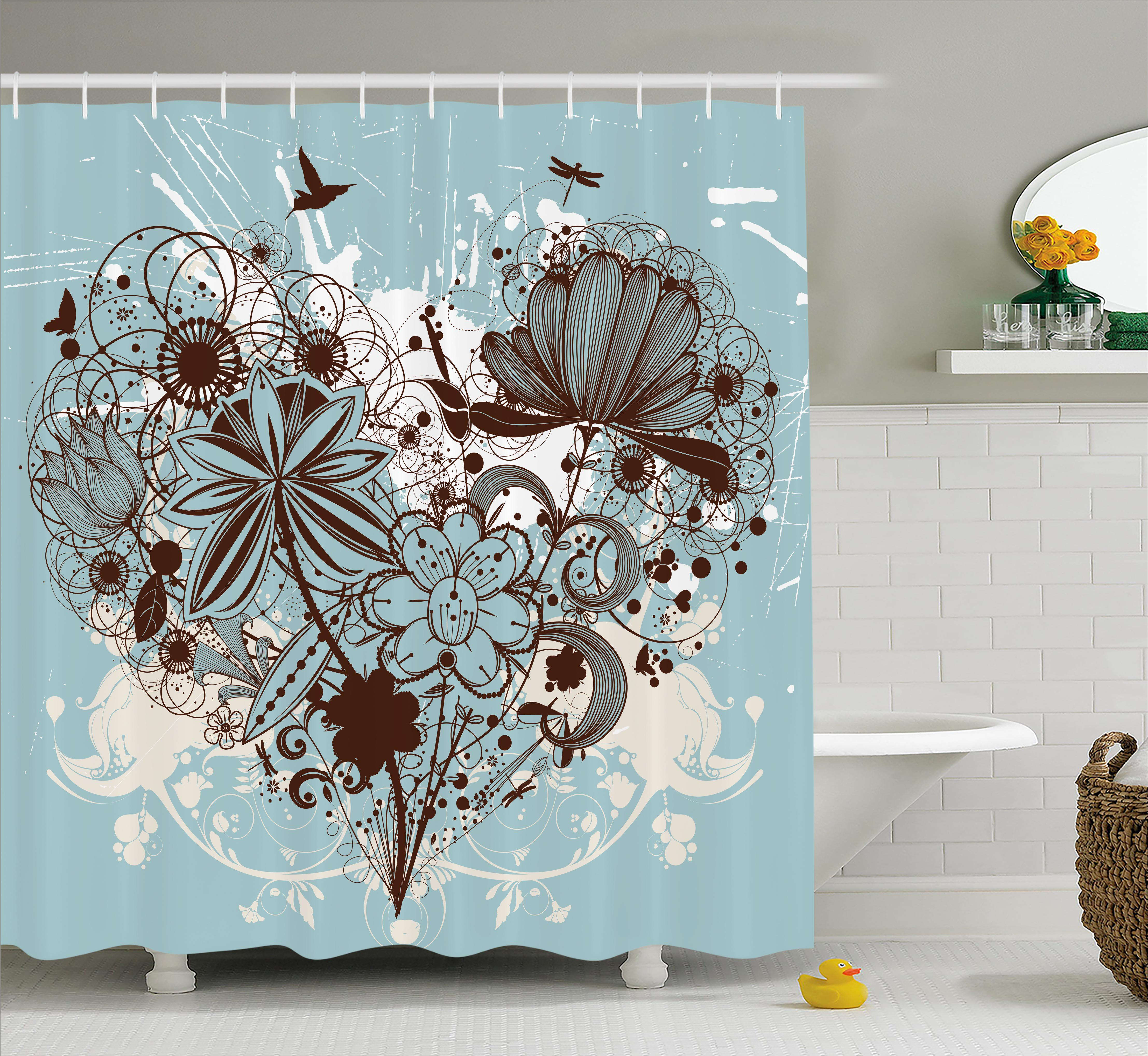 Grunge Shower Curtain, Murky Floral Dragonfly Background with Swirls and Petal Retro Graphic, Fabric Bathroom Set with Hooks, 69W X 84L Inches Extra Long, Light Blue Chestnut Brown, by Ambesonne