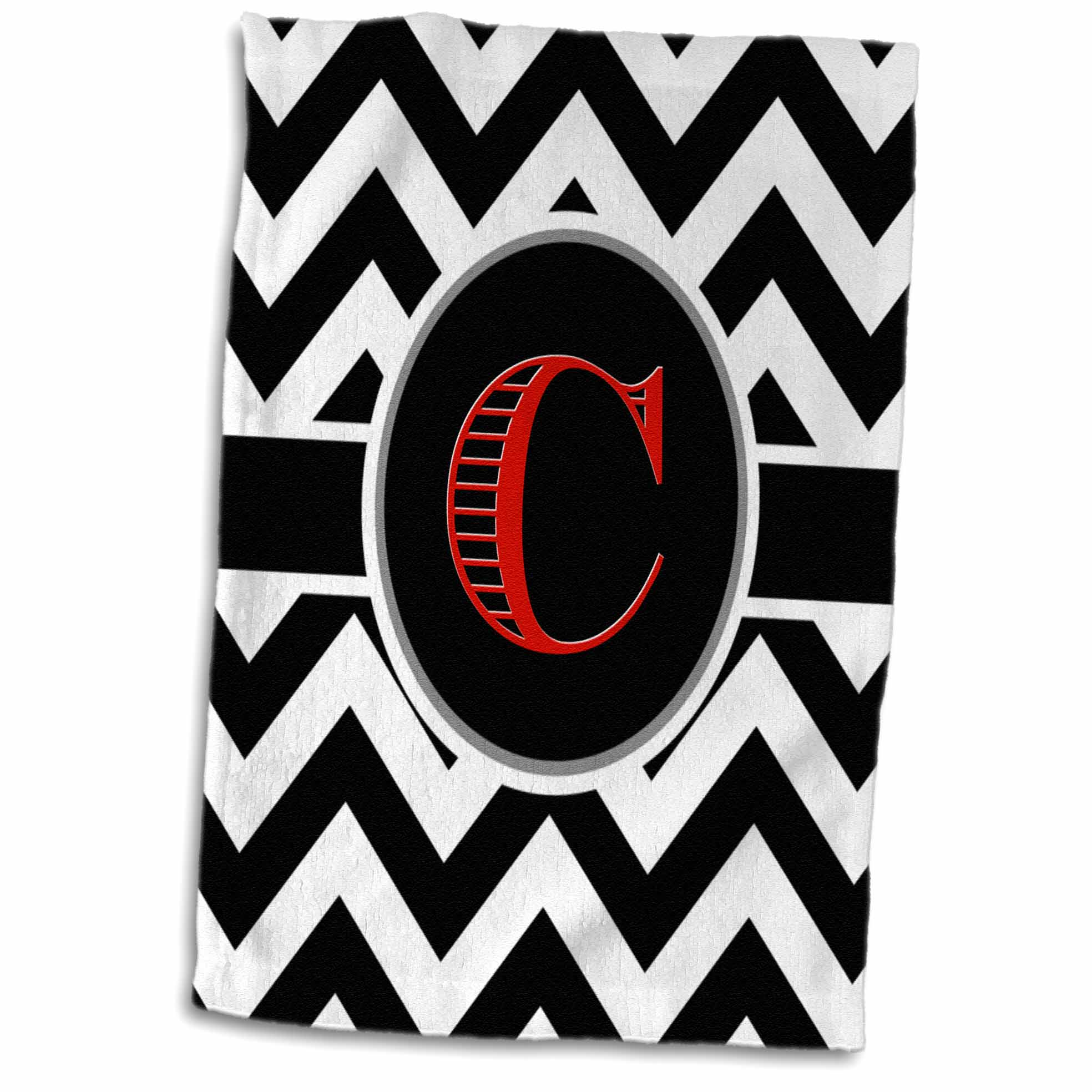 3dRose Black and white chevron monogram red initial C - Towel, 15 by 22-inch