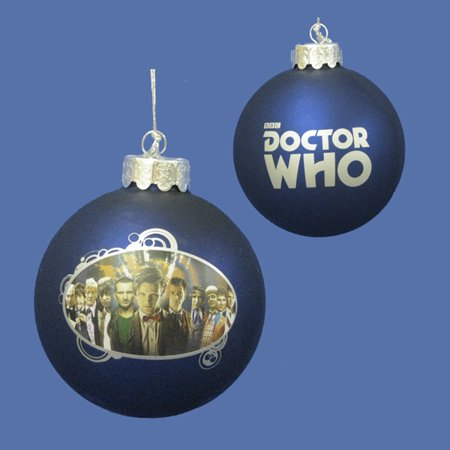 "Kurt S. Adler 3.25"" Doctor Who ""The Many Faces of the Doctor"" Glass Disc Christmas Ornament - Blue/Silver"