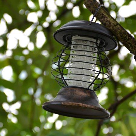 AGPtek LED Solar Bug Zapper Insect Killer Lamp Stainless Steel UV Outdoor Lantern (Outdoor Lighting Stainless Steel)