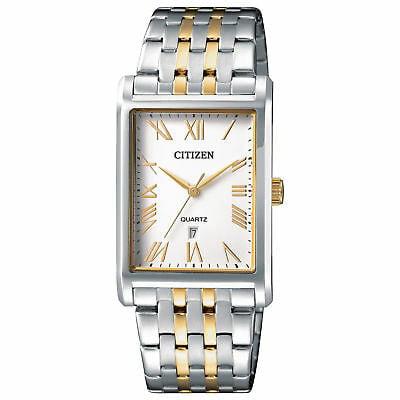 Citizen BH3004-59A Men's Two Tone Rectangular White Dial Analog Quartz Watch Citizen White Wrist Watch