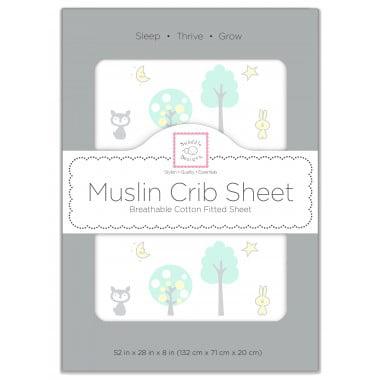 SwaddleDesigns Cotton Muslin Crib Sheet, Green Woodland