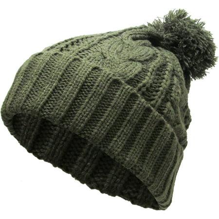 753a198bb Olive Slouchy Cable Knit Pom Pom Beanie Winter Cap Chunky Skull Hat Ski  Kinit Warm New