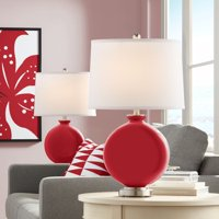 Color + Plus Ribbon Red Carrie Table Lamp Set of 2