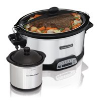 Hamilton Beach 7 Quart Stay or Go Programmable Slow Cooker with Party Dipper, Stainless Steel | Model# 33477