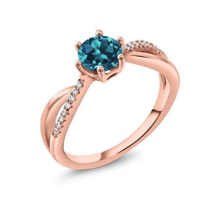 0.94 Ct Round London Blue Topaz 18K Rose Gold Plated Silver Ring