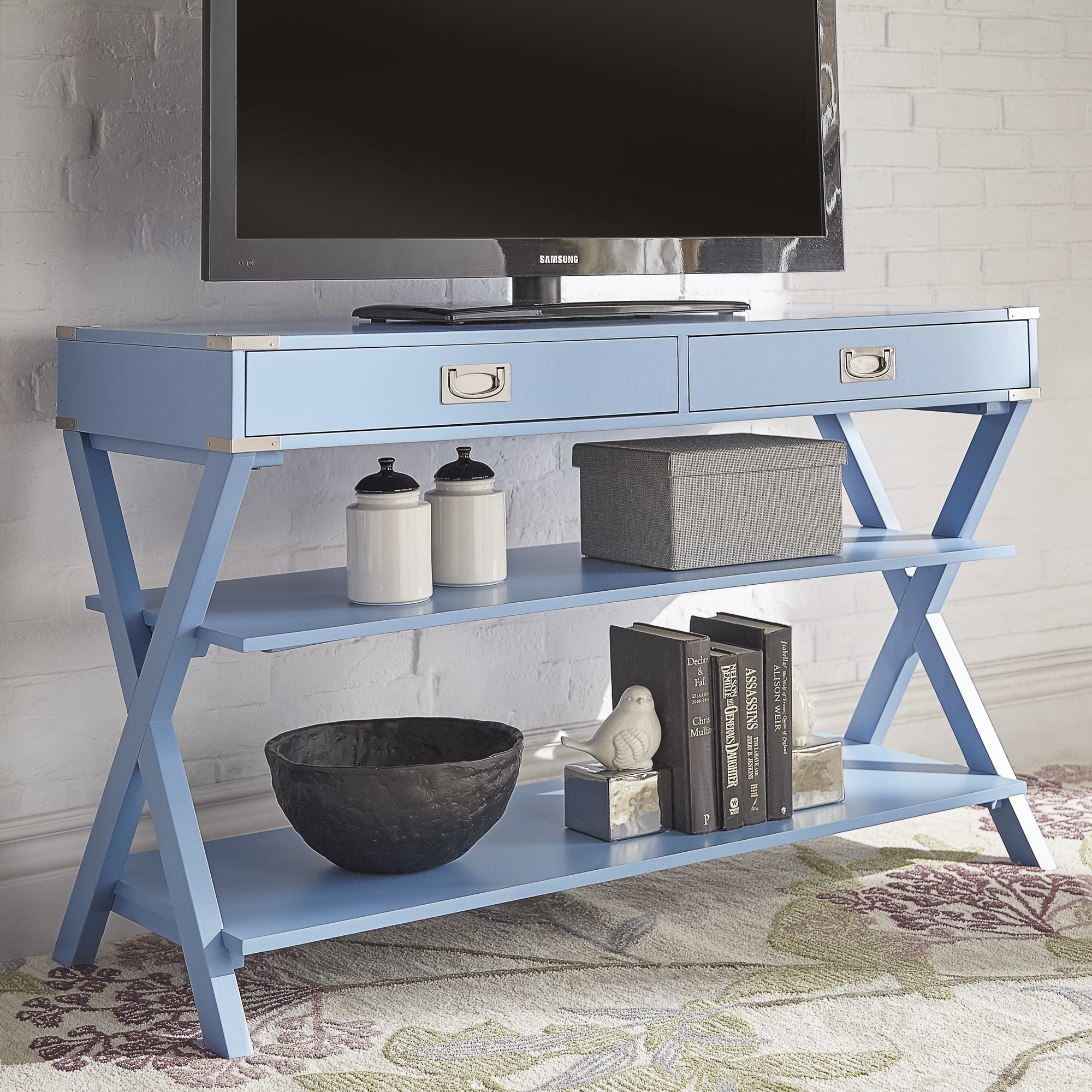 Weston Home Stillwater Double Drawer TV Media Console Table, Multiple Colors