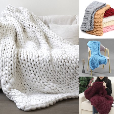 Hand-woven Bulky Warm Soft Chunky Knitted Blanket Bedspread Thick Yarn Sofa Throw Personalized Woven Throw Blanket