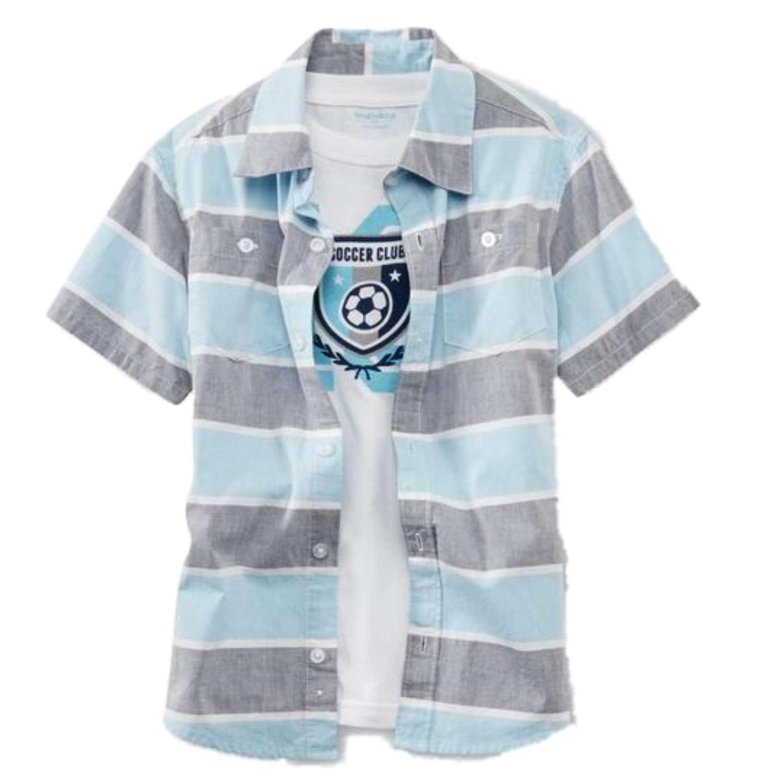 Toughskins Boys 2 Piece Blue & Gray Striped Shirt & Soccer Club T-Shirt Set