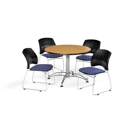 Ofm Pkg Brk 168 0052 Breakroom Package Featuring 42 In  Round Multi Purpose Table With Four Stars Stack Chairs