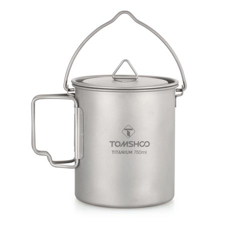 TOMSHOO Ultralight 750ml Titanium Pot Portable Titanium Water Mug Cup with Lid and Foldable Handle Outdoor Camping Cooking Picnic ()