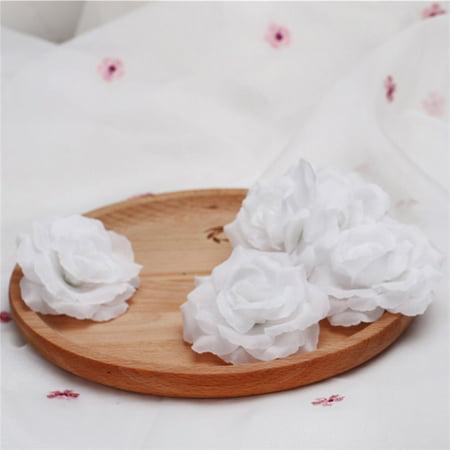 Bulls Silk - Silk Flowers Wholesale 5PCS Artificial Silk Rose Heads Bulk Flowers 8cm For Flower Wall Kissing Balls Wedding Supplies, White