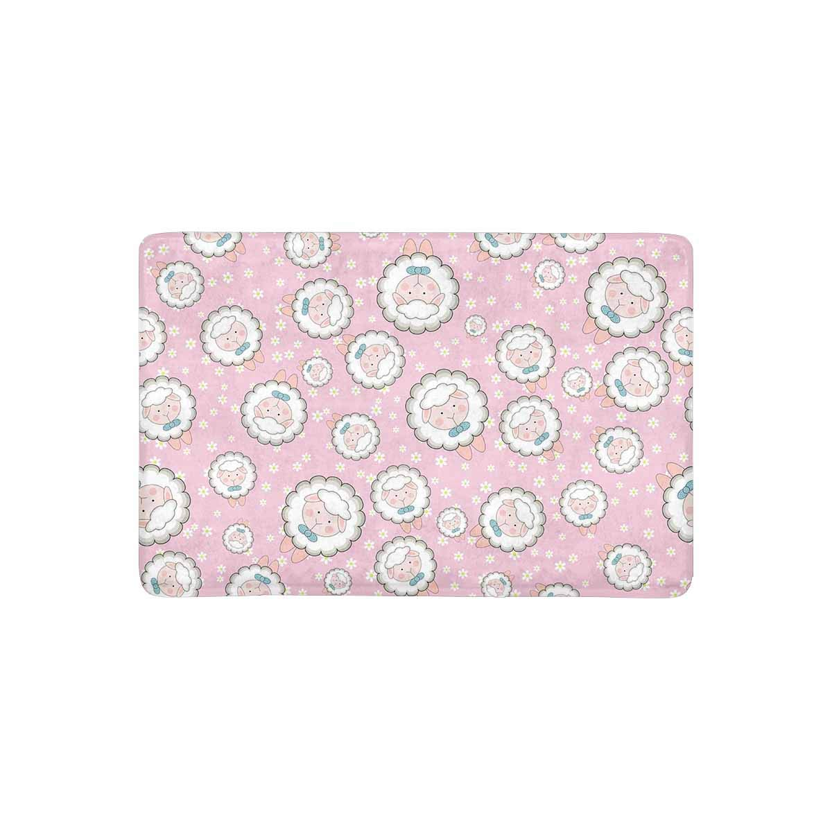 MKHERT Cute Sheep On Pink Background With Chamomile