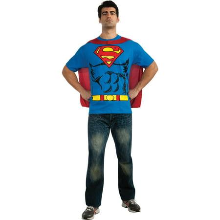 Morris Costumes Mens Superman Shirt, removable logo and printed cape Shirt, Medium, Style RU880470MD