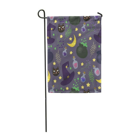 KDAGR Green Witch with Magic in Cartoon Style Perfect for Halloween Purple Black Cat Garden Flag Decorative Flag House Banner 12x18 - Halloween Cartoon Cats