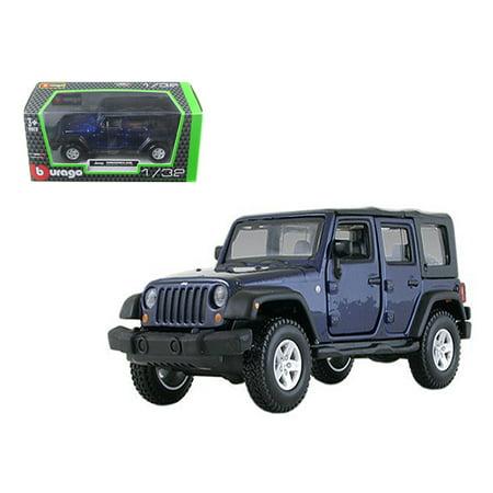 jeep wrangler unlimited rubicon 4 doors blue 1 32 diecast car model by bburago. Black Bedroom Furniture Sets. Home Design Ideas