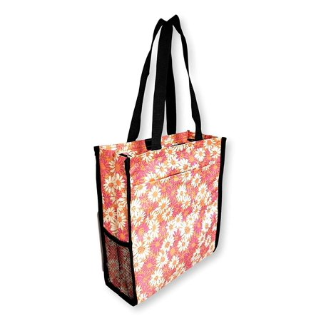 SONA G DESIGNS 12 inches tall by 11 inches wide Tote Bag with Mesh Water Bottle Pocket (Coral Daisy Flowers) White Wine Bottle