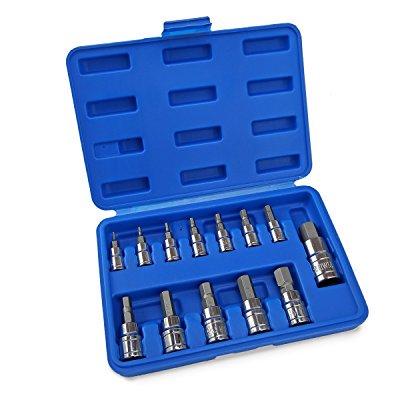 XtremepowerUS Metric MM Pro-Grade Allen Hex Bit Socket, 13-Piece