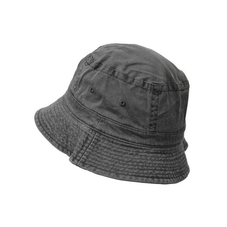 KC Caps Unisex Pigment Dyed Washed Bucket Hat Denim Garment Summer Outdoor Hat (Garment Washed Fitted Cap)