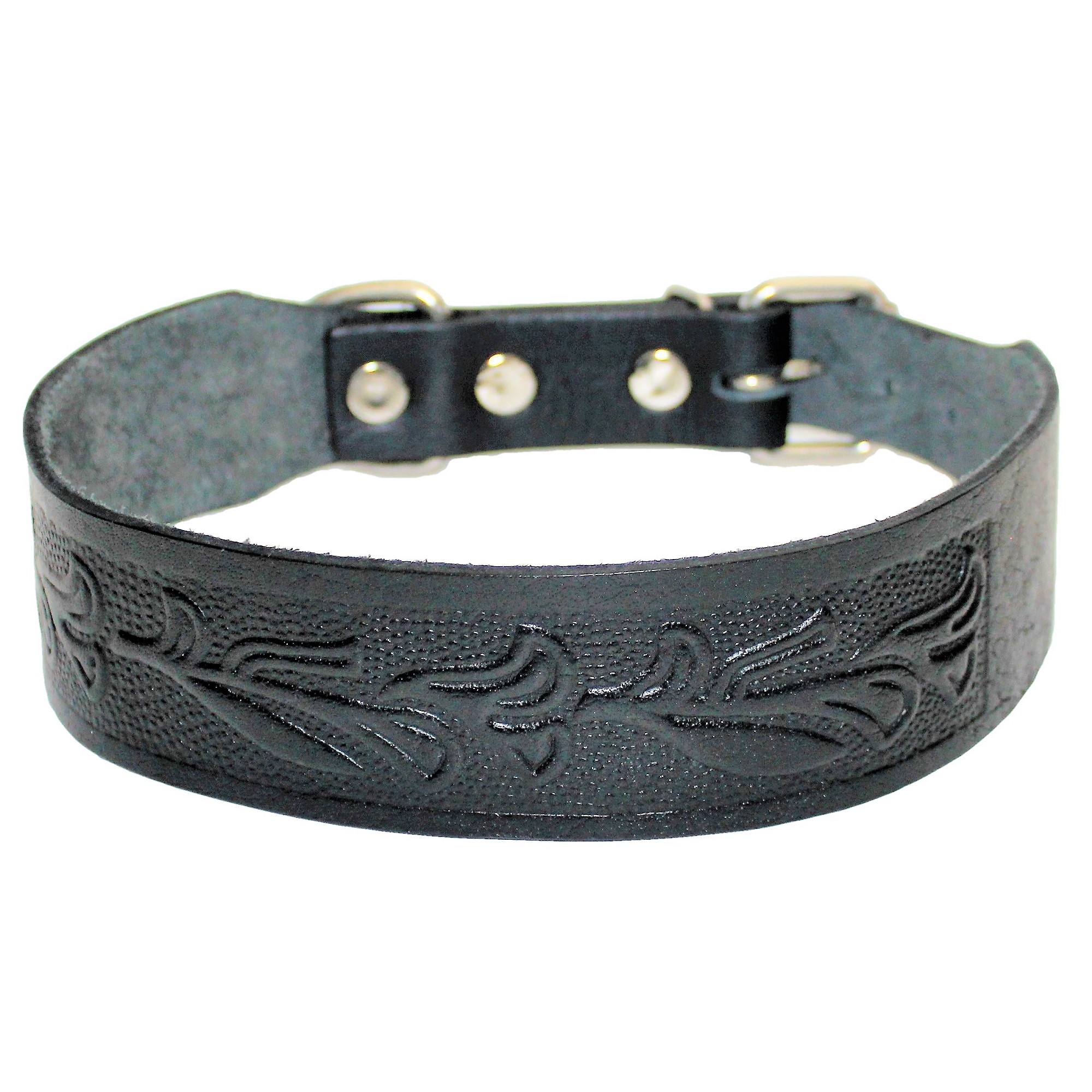 "2"" Width STRONG Dog Collar Genuine Real LEATHER for LARGE Pet BLACK by"