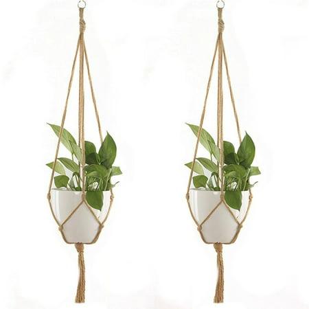 Brand New Macrame Rope Plant Hanger Basket Flower Pot Hanging Holder Garden Decor Flower Pot Hemp Rope Hanging Net - image 6 of 7