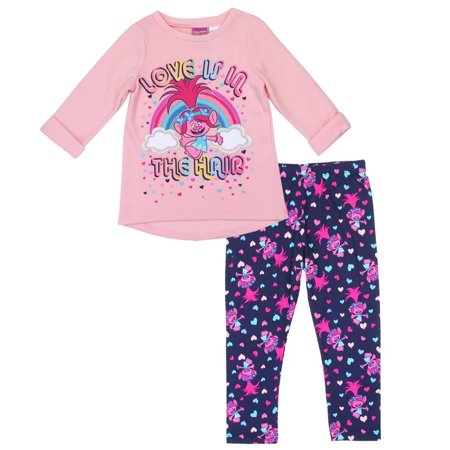 Trolls Little Girls' Toddler Love is in the Hair Top and Leggings Set