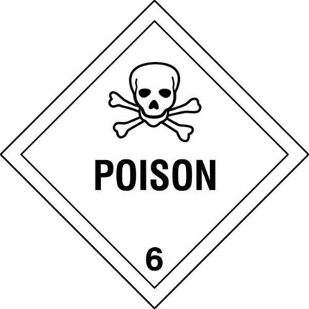HMSL-0047-V25 DOT Label, 4 In. H, 4 In. W, Poison, PK - Halloween Labels Poison