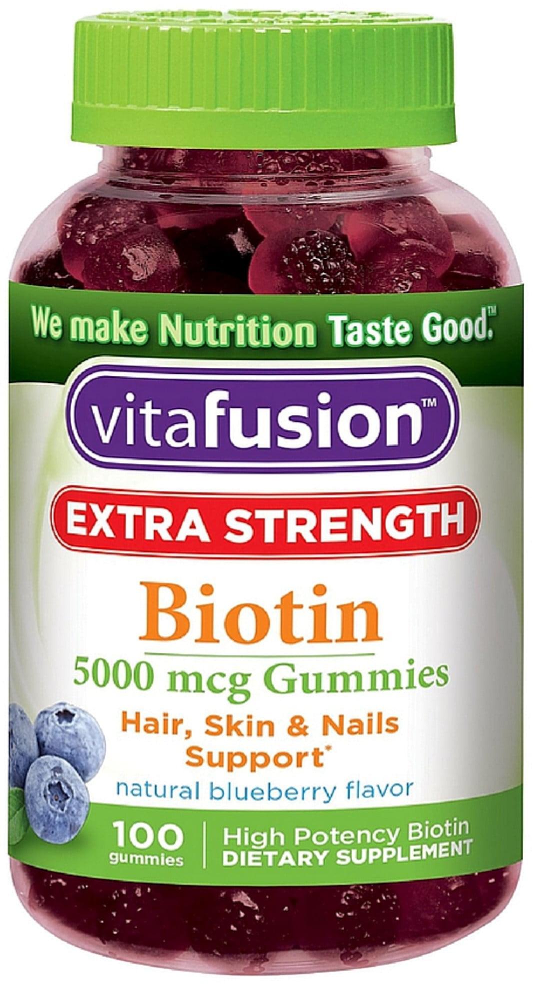 Vitafusion Extra Strength Biotin Gummies, Blueberry, 12 mcg, 12 Ct    Walmart.com
