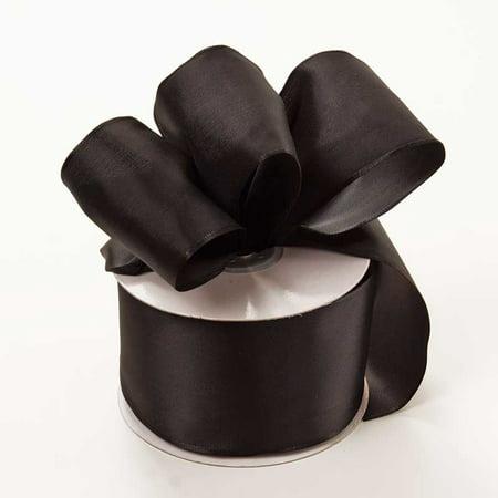 (2-1/2 X 25 Yards Black Trevia Taffeta Wired Ribbon  by Paper Mart)