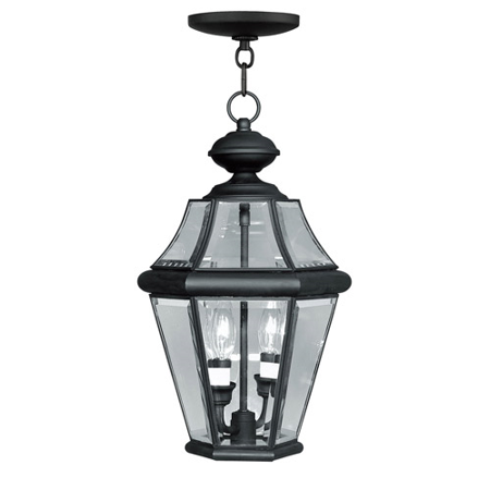 Outdoor Pendants 2 Light With Clear Beveled Glass Black Finish size 10 in 120 Watts - World of Crystal
