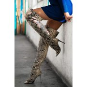 CAPE ROBBIN RUNWAY OVER KNEE THIGH HIGH LACE UP STILETTO BOOT- SNAKE