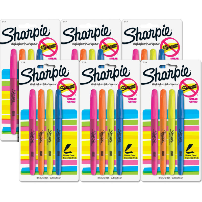 Sharpie Accent Pocket-Style Highlighters, Narrow Chisel Tip, Assorted, 24/Pack