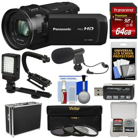 Semi Hard Camera Case - Panasonic HC-V800 Wi-Fi Full HD Video Camera Camcorder with 64GB Card + Hard Case + Stabilizer + LED Light + Mic + 3 Filters + Kit