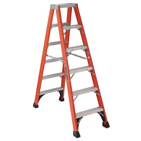 Louisville Ladder FM1406HD 6 ft. Fiberglass Twin Step Ladder, Type IAA, 375 lbs Load Capacity