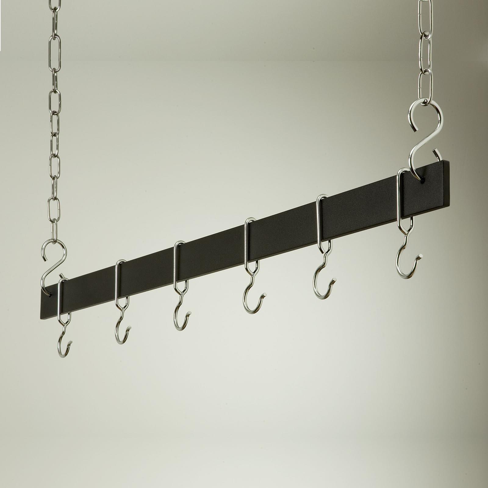 Euro Black and Chrome Hanging Bar Pot Rack