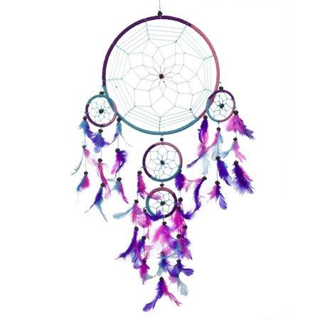 Mosunx Dream Catcher Circular Purple Feathers Wall Hanging Decoration Decor Craft Purpl (Craft Wall)