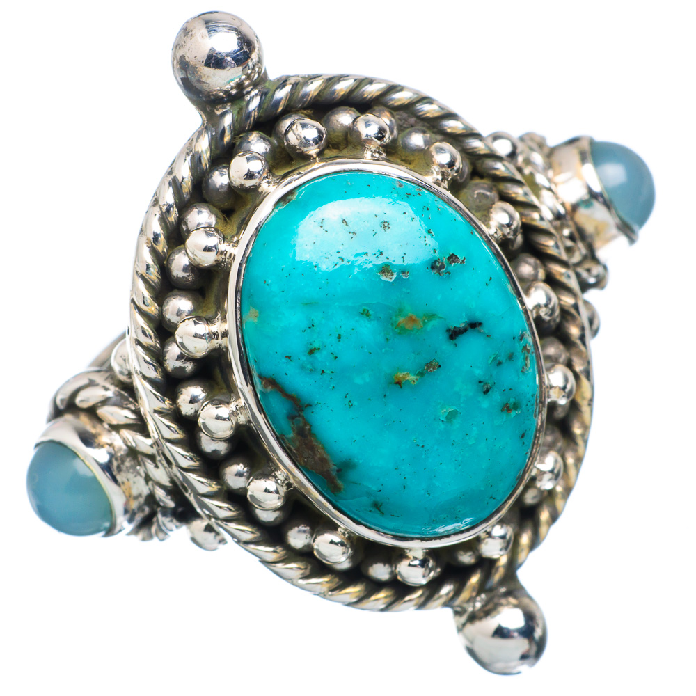 Ana Silver Co Tibetan Turquoise, Aqua Chalcedony Ring Size 7 (925 Sterling Silver) Handmade Jewelry RING884328 by Ana Silver Co.